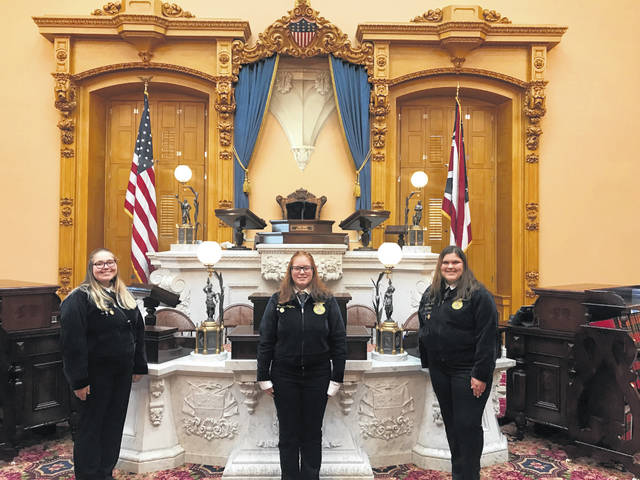 Standing in the Ohio Senate building are, from left, Taylor Cordial, Jess Salyers and Ashlyn Dunn.