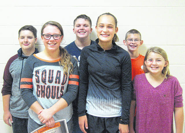 West Liberty-Salem Middle School's September Students of the Month are, from left, 8th graders Adam Stapleton and Blair Boyd, 7th graders Drake Brown and Sophia Hardwick and 6th graders Craig Stanford and Joy Hudson.