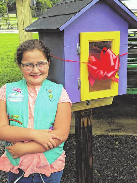 Kaylee Cantrell built and installed a Free Little Library at Goshen Memorial Park for the community to use.