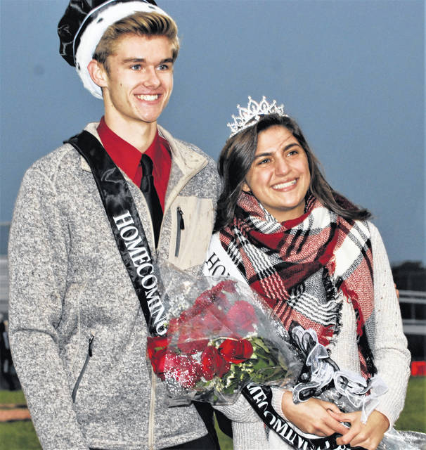 Graham High School honored its football homecoming court on Friday night during pregame of the game against visiting Urbana. Pictured are Homecoming King Matt Flora and Queen Hailley Kendall.