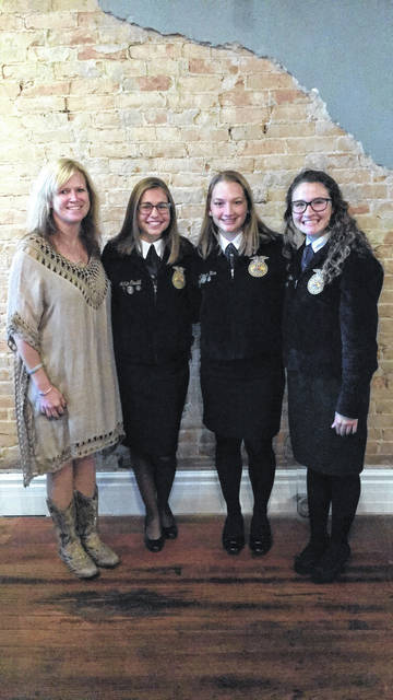 On Oct. 9, three West Liberty-Salem FFA chapter members attended the Ag Administration Dinner at The Hive in Mechcanicsburg. Speech topics included FFA impact and OSU Precision Ag. The guest speaker was Trey Colley. From left are Trista Havens, WL-S FFA advisor, Adalyn Caudill, chapter president, Camrin Rice, chapter asst. treasurer, and Alyssa Alford, chapter reporter.
