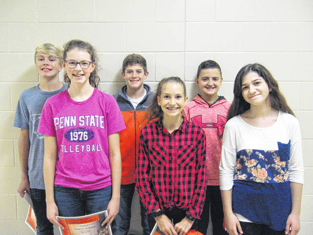 West Liberty-Salem Middle School's October Students of the Month are, from left, 8th graders AJ Kimball and Payton Eckurd, 7th graders Austin Olejniczak and Ashley Yoder and 6th graders Jack Bahan and Akira Whitman.