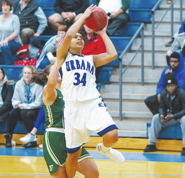 UU's Sylvia Hudson drives to the basket during Wednesday night's game with visiting Tiffin.