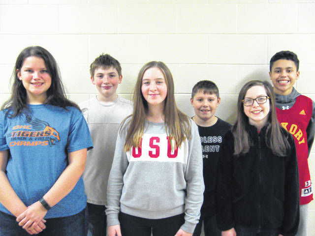 West Liberty-Salem Middle School's November Students of the Month are, from left, 8th graders Montana Zinn and Travis Cropper, 7th graders Whitney Strapp and Dylan Wing and 6th graders Ava Chamberlain and Taran Logwood.