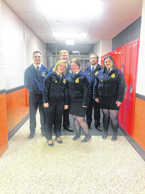 The Urbana FFA Chapter participated in the Sub-District Parliamentary Procedure Contest at Marysville on Nov. 13. Teams hold a mock meeting using parliamentary procedures. The team placed 2nd and received a gold rating, signifying moving on to the district contest at North Union on Nov. 29. The team placed 7th at district competition, receiving a silver rating. Team members are, from left, Trey Williams, Ally Pierce, Nick Crumley, Peyton Tener, Justin Preece and Ashlyn Dunn.