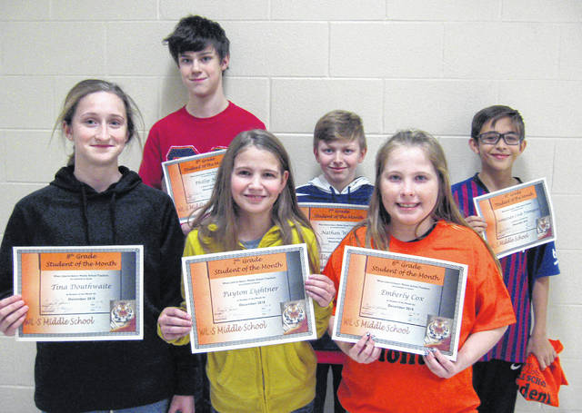 West Liberty-Salem Middle School's December Students of the Month are, from left, 8th graders Tina Douthwaite and Phillip Marr, 7th graders Payton Lightner and Nathan Webb and 6th graders Emberly Cox and Sebastian Cook-Finnegan.