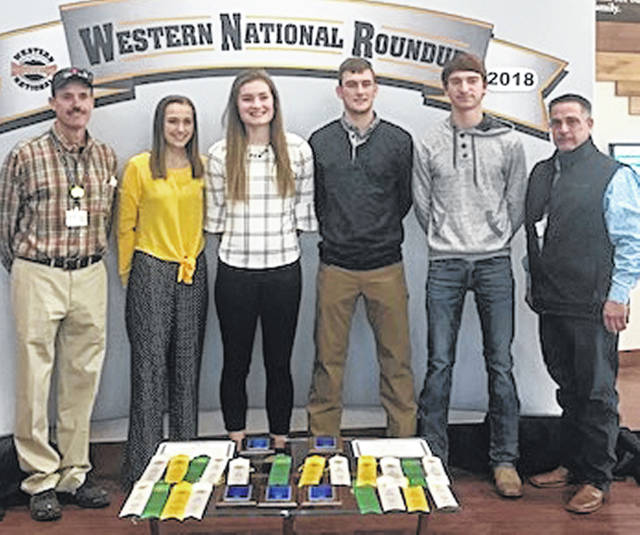 From left are Coach Dr. Bill Ayars, Taylor Ayars, Elly Schipfer, Logan Hurst, Colin Hartley and FFA Advisor Kevin Neer.