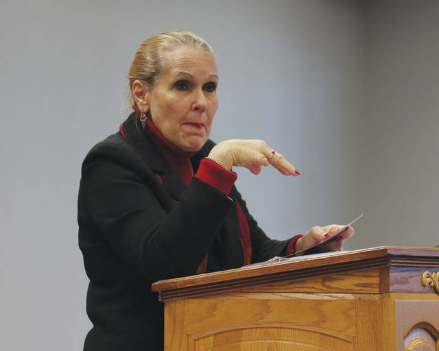 Former Ohio Supreme Court Justice Evelyn Stratton talks to local officials about the Stepping Up initiative Tuesday. The initiative is aimed at reducing the number of people with mental illnesses in jails. Stratton is the project director of the Ohio Stepping Up initiative.