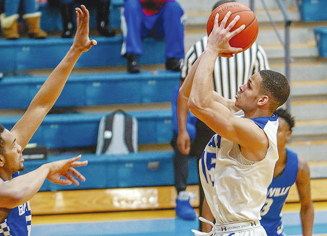 UU's Malik Jacobs (pictured) hit the game-winning shot in overtime on Saturday against visiting Glenville State.