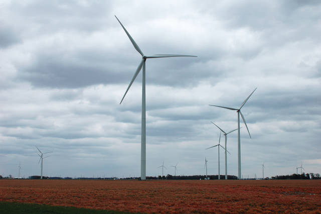 A wind installation is pictured near Van Wert in this file photo. More construction is slated to begin in nearby western Logan and Hardin counties in the second quarter of 2019 on a wind farm called Scioto Ridge.