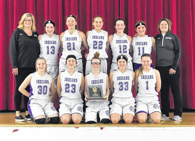 The 8th grade Mechanicsburg girls basketball team became champions Feb. 9, beating the Fairbanks Panthers 33-30 in the OHC north title game. The Indians finished the season 18-1. Taylor Rausch led the way with 8 points. Alana Kramer scored 7. A. Fraley and A. Hursey each scored 6 points.