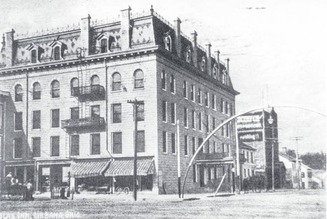 This is a 1910 photo of the Douglas Hotel, located in the southwest section of Monument Square.