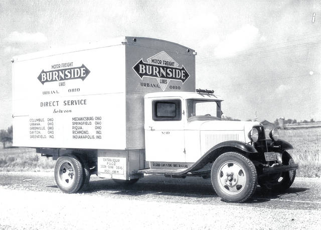 This is a circa 1933 photo (#0530) of a truck of the Burnside Motor Freight Lines. Note the list of cities served by the company. Charles M. Burnside circa 1920 established the trucking company at Cable. Circa 1930 the business was enlarged and moved to Urbana at 120 N. Locust, then 106 Scioto and then 1121 N. Main St. About 1984, Paul Harvey, an employee, purchased the company and relocated it to 518 Miami St. The name of the company was changed to Urbana Cartage. Source: Historical Facts & Trivia of Champaign County, Ohio by Ed Ridder. <em>The Champaign County Historical Society is an all-volunteer, not-for profit organization that preserves, protects, archives and displays the artifacts that tell the Champaign County story. The society depends upon donations and dues to provide a free public museum, which is open 10 a.m.-4 p.m. Mondays and Tuesdays.</em>