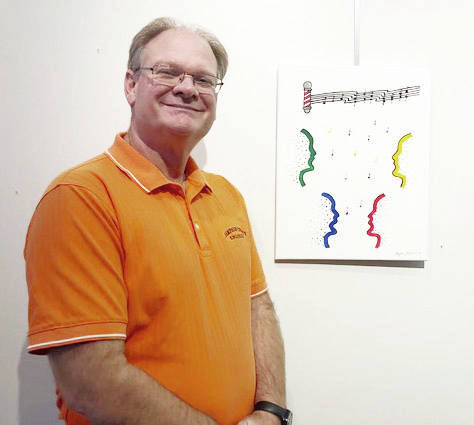 Stephen McCall's art represents the four-part harmony of a barbershop chorus.