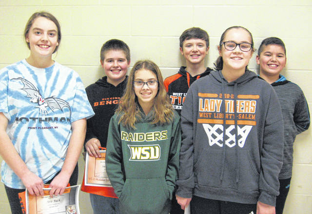 West Liberty-Salem Middle School's January Students of the Month are 8th graders Ava Buck and Sam Wilkins, 7th graders Abigail Miller and Peyton Hull and 6th graders Isabella Hardwick and Isaiah Reames.