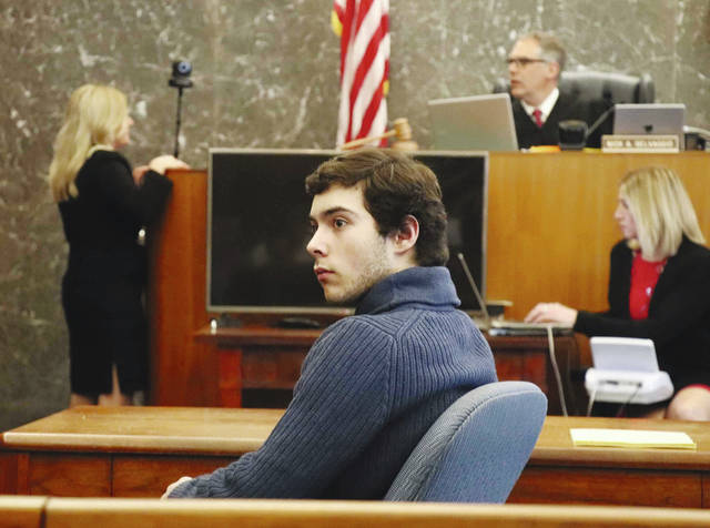Ely Serna is pictured in the courtroom following his May 2018 sentencing hearing. He received a maximum consecutive prison sentence of 23 1/2 years. A merit brief filed on Serna's behalf in late January contends Judge Nick Selvaggio, pictured in the background, erred by conducting personal research into the effects of a drug Serna used instead of relying on expert testimony and by failing to consider Serna's age as mitigating when imposing the prison sentence.