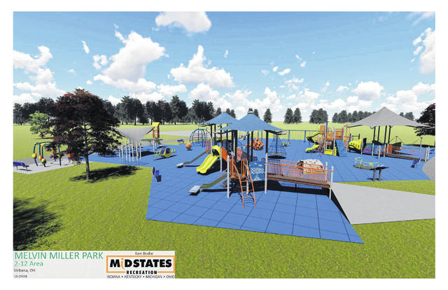 These artist renderings are of equipment proposed for the EVERYbody Plays! inclusive playground at Melvin Miller Park, including early childhood equipment and equipment for children up to 12 years old.