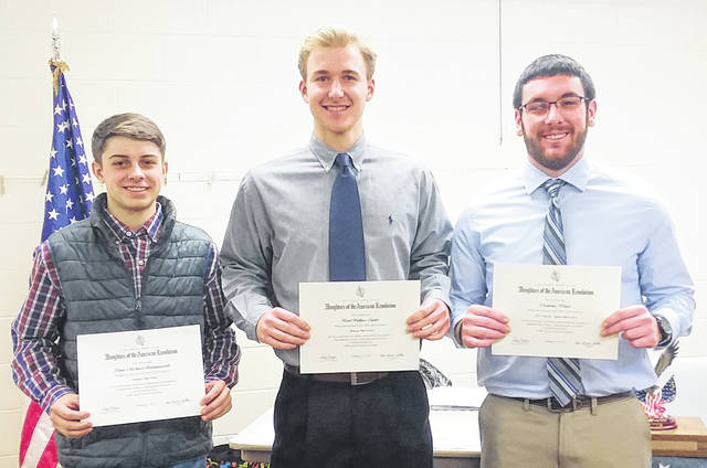 Good Citizen winners are Lane Hollingsworth, Graham High School; Reid Taylor, Urbana High School; and Dominic Blair, West Liberty-Salem High School. Not pictured are Jacquelynn Washburn, Graham High School; and Abigail Kramer, Mechanicsburg High School.