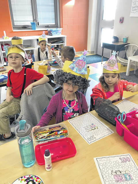 On March 1, West Liberty-Salem kindergartners dressed as if they were 100 years old to celebrate the 100th day of school.