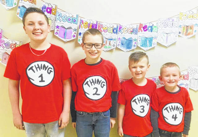 Bryant Eaton, Dustin Bolton, Blake Eaton and Henry Bolton show their Dr. Seuss spirit during Literacy Week at West Liberty-Salem School.