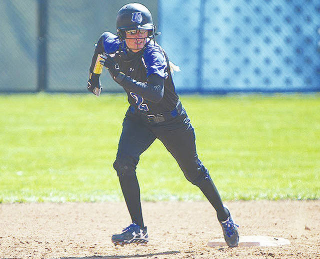 UU's Jenna VanHoose (pictured) had a hit and scored a run in Sunday's first game at Wheeling Jesuit.