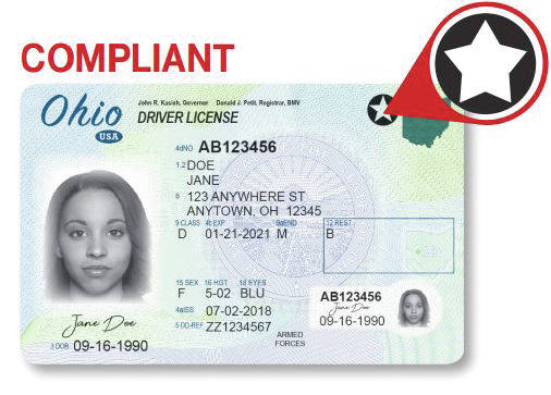 This is an example of a federally compliant Ohio driver's license. The new federally compliant card meets national travel security requirements, and a federally compliant form of identification will be required to fly commercially or to access federal facilities or military bases and is mailed to residents after they go to a deputy registrar agency for the card renewal.