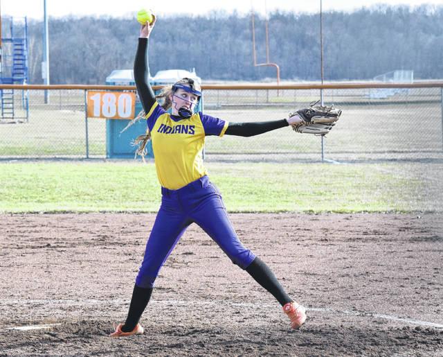 Mechanicsburg's Francys King delivers a pitch against West Liberty-Salem on Monday. King shut the Tigers out over five innings, allowing just one hit.