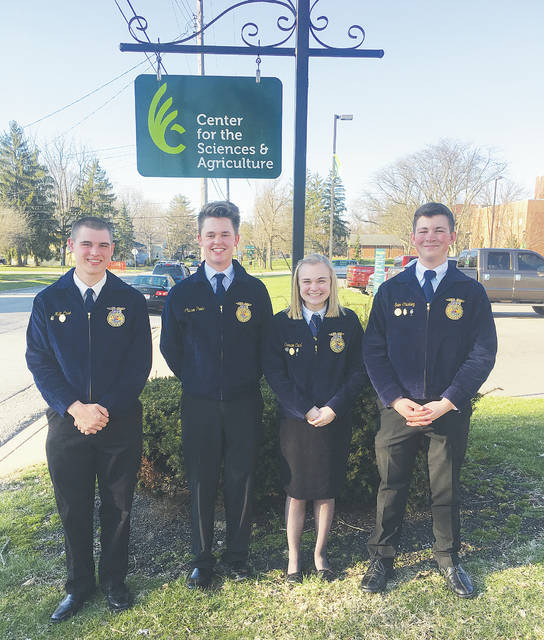The A.B. Graham Ohio Hi-Point Grain Merchandising team finished fifth in the state of Ohio during April's state competition on Tuesday.