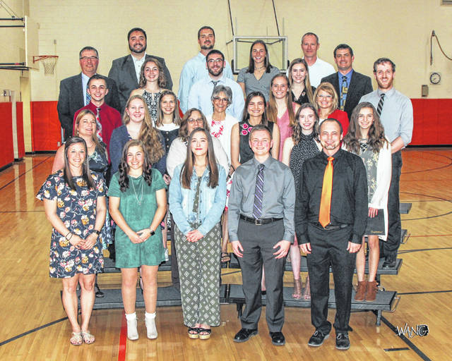 Seniors with honored staff are, 1st row, Mrs. Kenleigh Farris, Arrah Sandy, Hailee Clifford, Tyler Motzko, Mr. Stephen Fannin, 2nd row, Mrs. Surena Neer, Chloe Spencer, Mrs. June Seymour, Courtney Neer, Lauren Fowler, McKena Floyd, 3rd row, Cayden Whitman, Sarah Painter, Mrs. Cheryl Shank, Kaylee Harrison, Mrs. Renee Arnold, Mr. Brice Henry, 4th row: Mr. Todd Lewis, Rachel McGill, Dominic Blair, Addy Johnson, Mr. Greg Johnson, 5th row, Mr. Andy McGill, Mr. Dan McGill, Gabby Hollar, Mr. Aaron Hollar.
