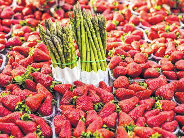 Most fruits and vegetables are available year-round, but seasonal produce - such as asparagus and strawberries in the spring - is typically cheaper to buy because it is easier to produce than fruits and vegetables grown out of season.