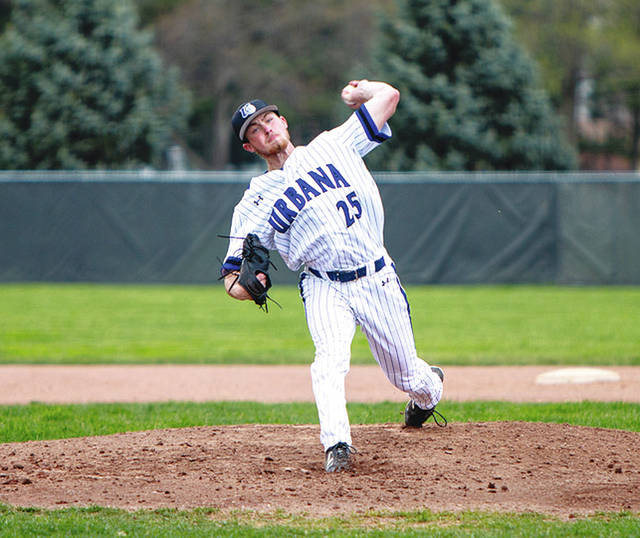 UU starting pitcher Brett Bell (pictured) threw seven shutout frames with eight strikeouts in his first career start on Wednesday. The Blue Knights scored three runs in the 8th inning to beat visiting Findlay, 5-2. Triad graduate Briley Harlan had an RBI in the contest.