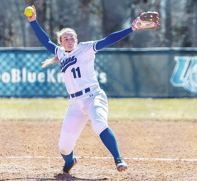 UU's Kayleigh Pate (pictured) hurled a shutout against visiting Ohio Christian on Wednesday.