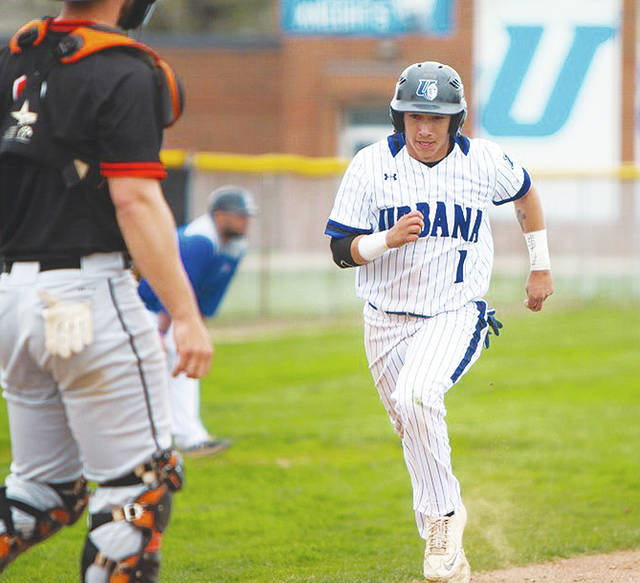 Urbana University's Daniel Quiroz (pictured) had two hits in Tuesday's first game.