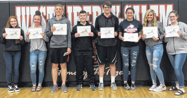 "WL-S ""White Tigers"" include, from left, Angeline Allison, Megan Dillon, Gavin Harrison, Blake Cushman, Jaison Council, Paige Shaffer, Kelsey Day and Ashlyn Parks."