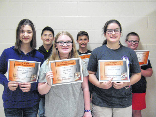 The April West Liberty-Salem Middle School Students of the Month are 8th graders Emma Kauffman and Michael Jones, 7th graders Lexi Helms and Joey LaRoche and 6th graders Maddie McGill and Silas King.