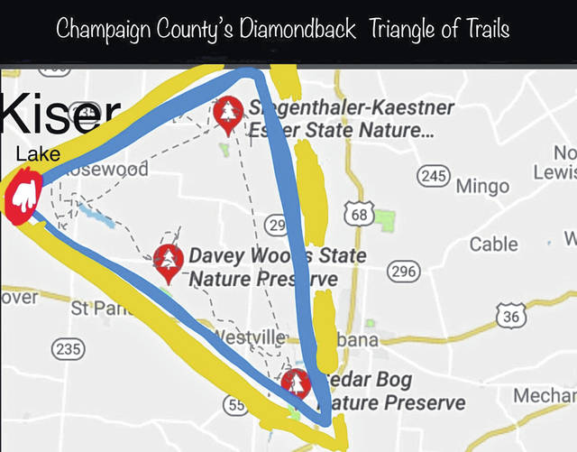 "Get your hiking boots on and check out the ""Diamondback Triangle"" in the Blue Hills of Champaign County."