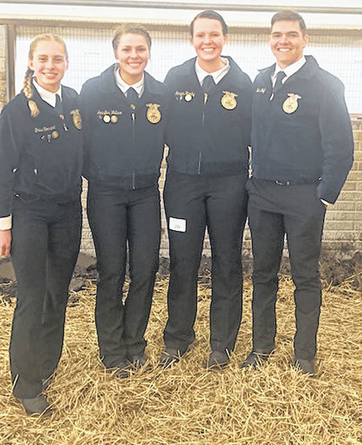 The Mechanicsburg FFA Livestock Team includes, from left, Grace Forrest, Jennifer Wallace, Morgan Hamby and Noah Wolf.