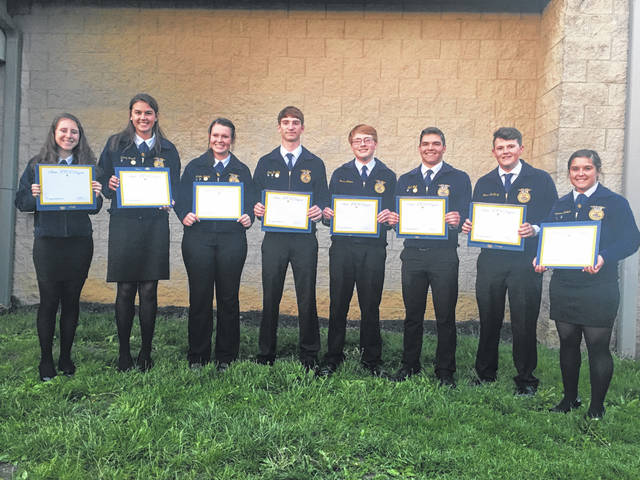 Mechanicsburg FFA's state degree recipients are, from left, Emma Wilson, Kelsey Stepek, Morgan Hamby, Colin Hartley, Tyson Adams, Noah Wolf, Ross McNary and Cheyenne Baldwin.