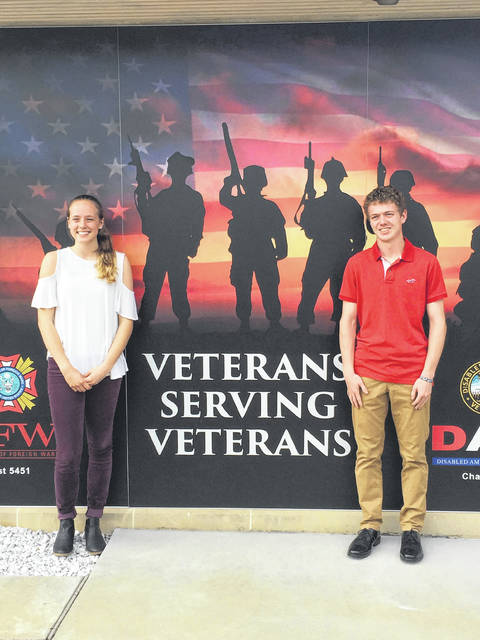 The Spriggs-Wing Post 5451 VFW Auxiliary awarded $500 scholarships to Kaylee Harrison, West Liberty-Salem High School, and Michael Trudo, Urbana High School. Harrison plans to attend Ohio State University, and Trudo plans to attend the University of Dayton.