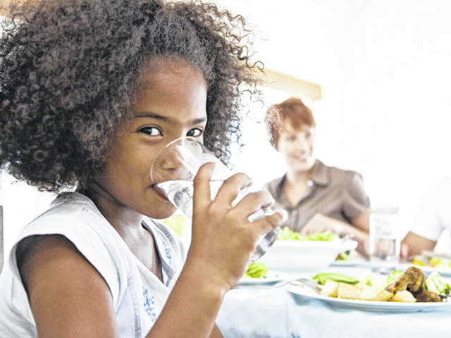 Parents can help children drink healthy liquids by only making water and milk available and by drinking healthy liquids themselves.