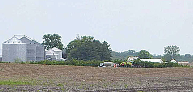 Pictured is the scene of a fatal farm accident from Wednesday.