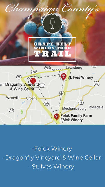 Find yourself a lazy Saturday, hop onto the Champaign County Grape Belt & Winery Tour Trail and visit all three sites in one day.