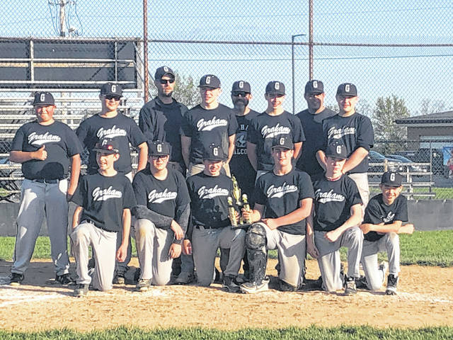 The Graham Falcons 8th grade baseball team won the club championship game and finished the season 11-0. Pictured are, back row from left, Ayden Tudor, Casey Kelley, Coach Errett, Sam Ludlow, Coach Ludlow, Josh Still, Coach Sells, Tristan Maxwell, front row from left, Logan Errett, Sam Comer, Eli Hollingsworth, Ben Sells, John Bibbee, Carson McKenzie. Not pictured, Chandler Grimes. Coach Martin for contributing to the team's success.