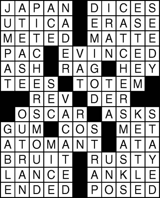 An incorrect answer grid was used with the Joseph crossword puzzle on the Friday, June 7, comics page. Here is the correct answer key.