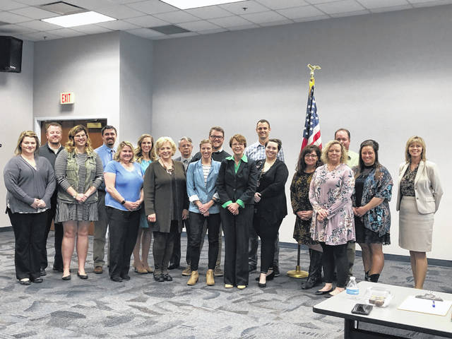 Graduates of the Chamber of Commerce's 2019 Leadership class, shown with Justice Sharon Kennedy at an event, includes, back row, Brett Spriggs, committee chair, Ryan Rismiller, Victoria Richardson, Vincent Foulk, Adam Moore, Jason Kile, Chris Snyder, front row, Brittany Lewis, Chelsea Richardson, Nancy Cavanaugh, Karen Chuvalas, Tracy Short, Ohio Supreme Court Justice Sharon Kennedy, Jessica Doggett, Tonya McGuire, Mary Kay Snyder, Chrissy Yoder and Karen Bailey, committee member.