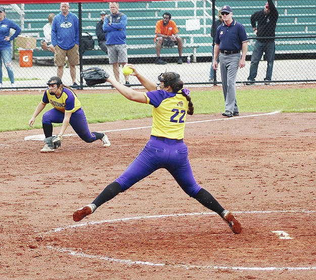 Mechanicsburg freshman Daytayviah Rodgers (pictured) throws a pitch in the sixth inning of the Division IV softball state championship game in Akron on Sunday.