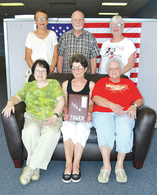 Committee members planning the 55-year reunion of the Urbana High School Class of 1964, and the Urbana elementary schools they attended, include, back from left, Michelle Thomas Porter, South Elementary; Chuck Balmer, St. Mary Elementary; Gretchen Holding Huffman, East Elementary; front from left, Julie Davison Balmer. Central Elementary; Rayann Hartzler Troyer, Local Elementary; and Wilma Borst Huffman, North Elementary. They say only five Urbana High School graduating classes had members from all six Urbana elementary schools, those from 1962 to 1966.