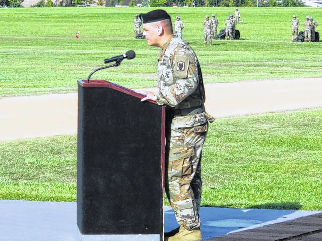 Col. Matthew Foulk addresses his new command.