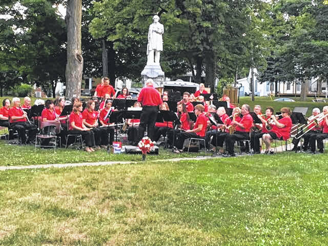This photo shows the West Central Ohio Community Concert Band performing in Bellefontaine.