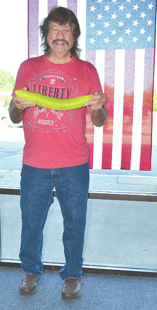 Stanley Gilliam, Sr., grew a giant cucumber in his garden and said he plans to take it to the agricultural show at the Champaign County Fair, which begins on Friday.
